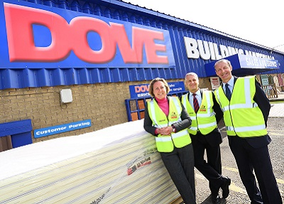Left to right: Anne-Marie Trevelyan, Steve Robinson (Managing Director) and Eddie Burness (Branch Manager) at JT Dove Building Materials in Berwick-Upon-Tweed