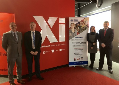 Pictured L-R: Richard Graves (Xtratherm Director, UK Sales and Marketing), John Newcomb (BMF CEO), Zoe Laing (Xtratherm UK Sales Support), Mark Terry (BMF Regional Manager)
