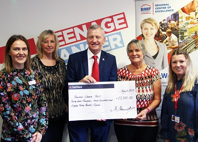 Grace Higgins (Teenage Cancer Trust). June Upton (BMF), John Newcomb (BMF), Christine Harding (former BMF), Hailey Amani (Teenage Cancer Trust)