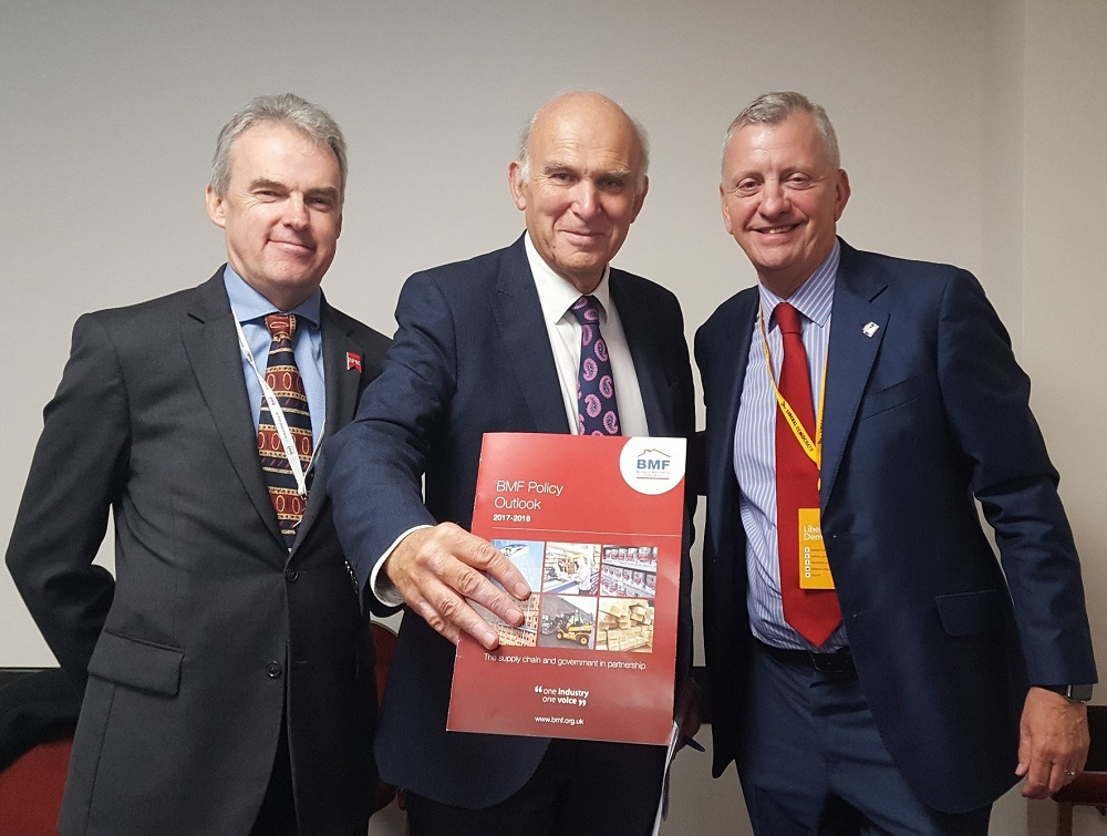 L-R James Talman (NFRC CEO), Vince Cable (Lib Dem leader, John Newcomb (BMF CEO)